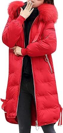 Giacca Donna Elegante Piumino Invernale Giubbotto Taglie Forti Giacche Pelliccia Parka Cotone Cappotto Giacca in Cotone Cravatta con Cerniera con Cappuccio Lunga Pelliccia Moda