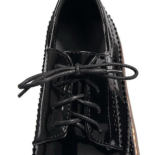 VogueZone009 Femme Couleur Unie Verni à Talon Bas Rond Lacet Chaussures Légeres Noir