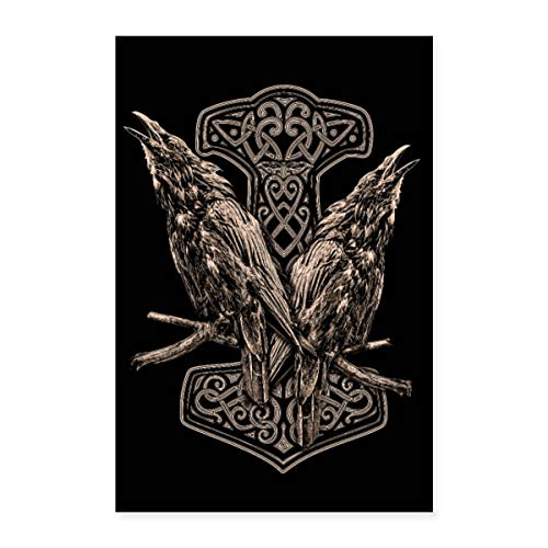 Spreadshirt Raben Odins mit Thorhammer Poster 60x90 cm, Weiß