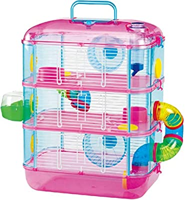 Hamster Cage, Three Storey, With Tubes, Lazy Bones. (Pink) from Lazy Bones