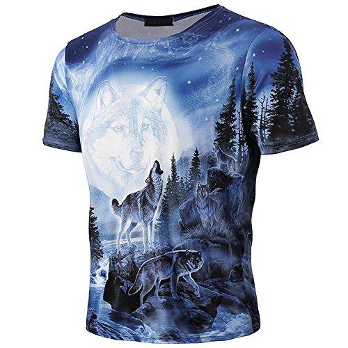 Personalisierte Hochzeit Kleidung (FRAUIT Kurzarmshirt Herren/Jungen 3D Wolf Gedruckt Kurzarm T-Shirts Personalisiert Mode Design Kleidung Top Bluse)