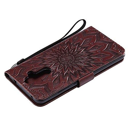 Für Huawei Mate 9 Fall, Prägen Sonnenblume Magnetische Muster Premium Soft PU Leder Brieftasche Stand Case Cover mit Lanyard & Halter & Card Slots ( Color : Pink ) Brown