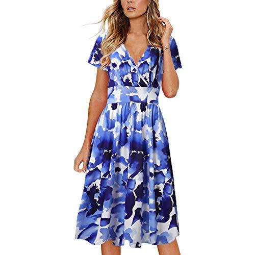 AZZRA Damen Sommer Mode Print V-Ausschnitt Kurzarm Slim Kleid Abendkleid Kleider A-Linie Damen Paillettenkleid glänzend Maxikleider Hochzeit Abendkleider Partykleid - Print Bustier Dress
