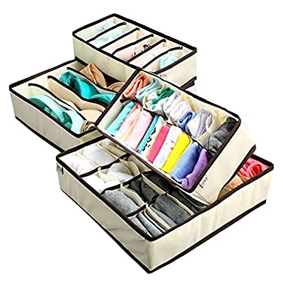 Creatov Collapsible Underwear Closet Organizer, Set Of 4 Beige - cheap UK light shop.