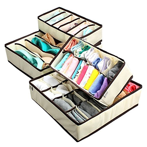 creatov-collapsible-underwear-closet-organizer-set-of-4-beige