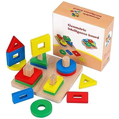Fenrad Jouets en Bois Formes À Trier Empiler Jeu de Tri Couleurs, Puzzles Bois en Éducatif l'apprentissage Géométriques Formes sécuritaire pour Enfants, garçon, Fille et bébés