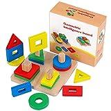 Ponangaga Puzzle Forme Geometriche Legno educativi Blocchi Bambino Impilatore Mattoncini Costruzione Giocattoli Blocco Bordo Pila Puzzle Sort Chunky per Bimbi Bambini Ordinamento