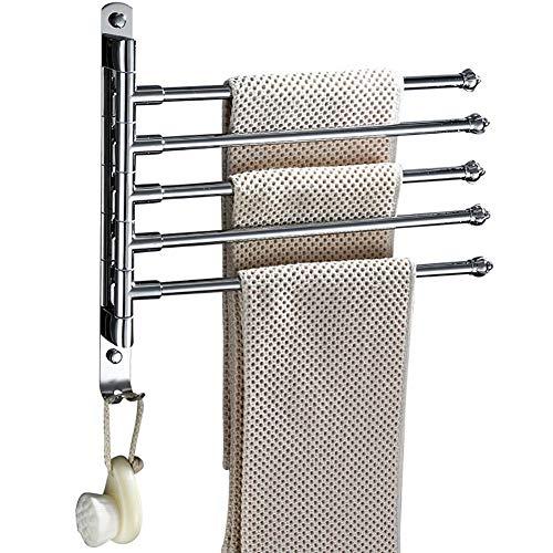 Towel pole Edelstahl-Wandmontage-Küchen-Badetuchhalter mit 5 Stangen extra langem Schwenker