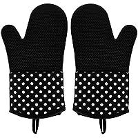Leesentec Hitzerbeständige Ofenhandschuhe, Silikon + Baumwolle, 2x Pack, Topfhandschuhe, Grillhandschuhe, Schwarz …