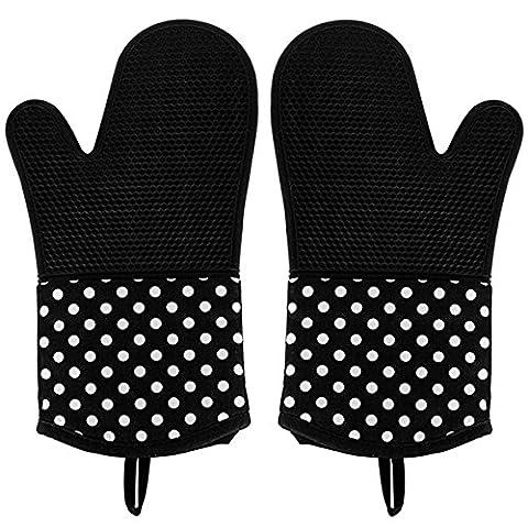 Leesentec Hitzerbeständige Ofenhandschuhe, Silikon + Baumwolle, 2x Pack, Topfhandschuhe, Backhandschuhe,