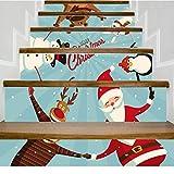 Ivo Ryan Weihnachtsdekoration Treppenaufkleber, Weihnachtstreppenaufkleber Wandaufkleber, Tapetentreppenaufkleber Treppenwandaufkleber Startseite Dekoration (Mehrfarbig-E) -
