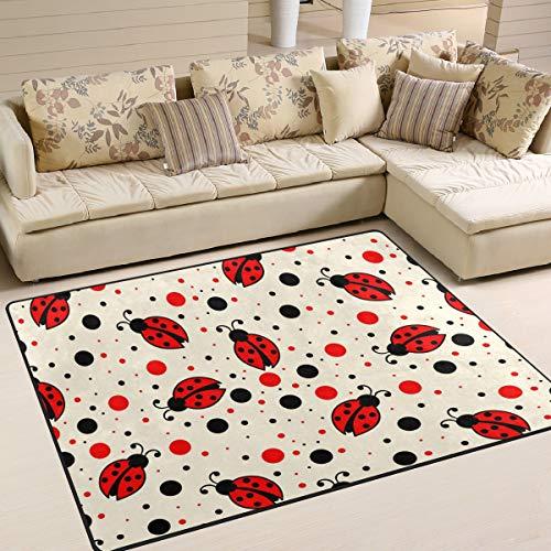 JSTEL INGBAGS - Alfombra para habitación Infantil (160 x 120 cm), diseño de Lunares, Color Rojo y Negro, 63 x 48 Inch