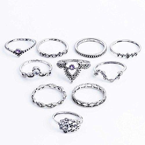 LaDiva 10pcs Orientalisches Vintage Fashion Ringe Fingerring-Set für Damen Mädchen, Frauen Ring Nagel Finger Band Schmuck