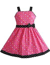 Mädchen Kleid Herz Drucken Rosa Gr. 98-146