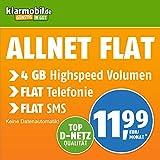 Klarmobil Allnet Flat L mit 4 GB Internet Flat max. 21,6 MBit/s, Telefonie- und SMS-Flat in alle dt. Netze, EU-Flat, 24 Monate Laufzeit, 11,99 EUR monatlich, Triple-Sim-Karten