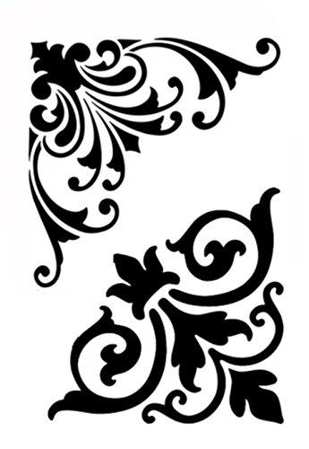 2 designs pochoir coin d cor style shabby chic vintage fran ais a4 de d coration murale motif. Black Bedroom Furniture Sets. Home Design Ideas