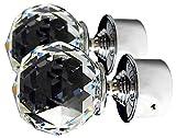TEZ Kristall Glas Gardinenstange Endstücken, klar Facettenschliff Ball Kristall Kopf - 60 mm Kristall dia - Verkauft als Paar - Finish: Chrom glänzend - geeignet für Stangen bis zu 30 mm Durchmesser.