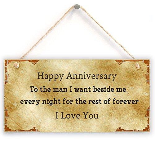 """Jubiläumsgeschenk für Ehemann – glücklicher Jahrestag zum Mann Ich wünsche neben mir jede Nacht für den Rest von für immer Ich liebe dich, Jahrestags-Geschenk-Zeichen (5 """"x"""