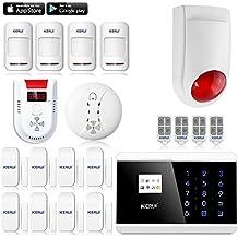 KERUI 8218G kit alarma de casa inalámbrica antirrobo Seguridad 99zonas GSM PSTN con sirena exterior–Appli iPhone y Android–Escritorio Alarma de seguridad antirrobo