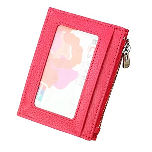 MOXO Leder RFID-Blocking-Karte Slim Wallet Zipper Mini Card Holder Visitenkarte Credit Card Holder Geldbörse Mens Womens(braun) rose rot