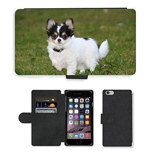Just Mobile pour Hot Style Téléphone portable étui portefeuille en cuir PU avec fente pour carte//m00138489Animaux Chiens Chiots Chihuahua//Apple iPhone 6Plus 14cm