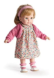 JC TOYS- Carla Blonde Toddler, 14-Inch Soft Body Doll Dressed in Pretty Sweater Flower Dress. Open and Close Eyes. Designed by BERENGUER for Children 3+, Color Dark Pink (30001)