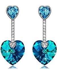 15314d4e6f43 ANGEL NINA Regalo del dia de la madre Florida Brillante Océano azul Amor  Corazón Pendientes Mujer largos Aretes de Plata de ley 925 con…
