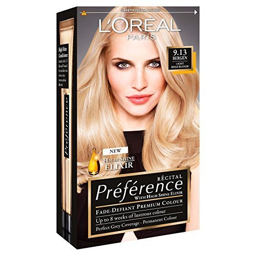 3 x loreal paris recital preference permanent colour 913 bergen light beige blonde by - Coloration Blond Clair Beige