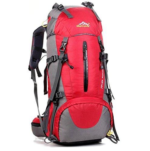 Camping Klettern Wandern Tasche Regen Deckel Rucksack Große Kapazität für Männer und Frauen 50L Rot