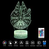3D-Lampe USB Power 7 Farben Erstaunliche Optische Illusion LED Night Light Kids Schlafzimmer (Millennium Falcon)