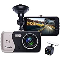 """Podofo Dashcam Enregistreur de Conduite Double Caméra de Voiture DVR 1080p Full HD 170°Grand Angle 4.0 """"Ecran IPS Vision Nocturne / WDR / Enregistre en Boucle / Capteur de Gravité / Mode de Stationnement / Détection de Mouvement"""