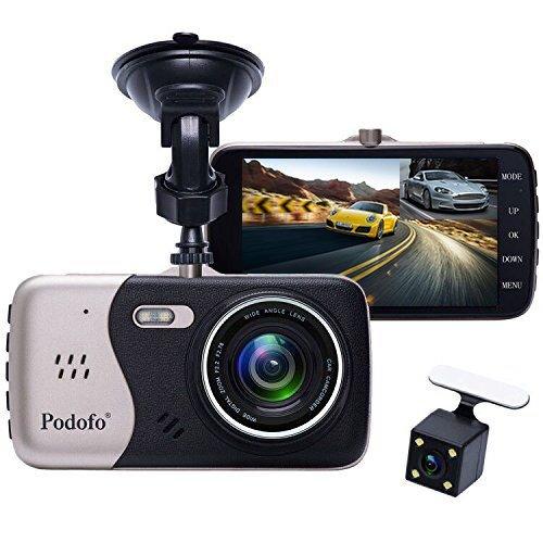 """In-Car-Dash-Cam, Podofo Dual Objektiv Full HD 1080P Auto Kamera vorne und hinten DVR Driving Recorder 170 ° Weitwinkel 4.0 \""""IPS Screen Armaturenbrett Eingebaute Nachtsicht / WDR / G-Sensor / Parkmodus / Bewegungserkennung / Loop Recorder"""
