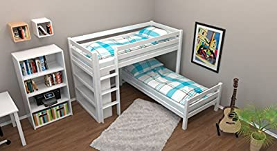 L-Shaped Bunk bed / Children's bed Phillip with shelf, white painted, incl. slatted frames - 90 x 200 cm
