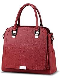 Iswee Leather Work Totes Top Handle Handbags Shoulder Bag Satchel Purses For Women (Wine)