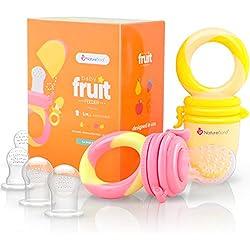 Tétine d'alimentation pour bébé/Tétine à fruit NatureBond (Paquet de 2) - Jouet de dentition pour bébé aux couleurs appétissantes| En bonus toutes les tailles de sacs en silicone