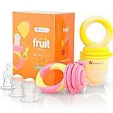 Ciuccio per Alimenti/Frutta per Bambini NatureBond (2 Pezzi) – Gioco per Stimolare la Dentizione dei Bambini in Colori che Stimolano l'Appetito | Include i Sacchetti in Silicone di Tutte le Taglie