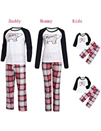 836498ce55cf51 FeiliandaJJ Family Christmas Matching Pyjamas, Father Mother Kid Baby Xmas  Sleepwear Cartoon Bear Top+Plaid Pants Clothes Set…