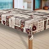 Wachstuch-Tischdecke Wachstischdecke Tischwäsche Abwaschbar Meterware Wachstuchdecke G09, Muster:Cafe Paris Blumen braun-grau, Größe:100x140 cm