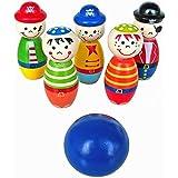 Ularma Lindo Forma divertida de Skittle de bola de bolos de madera para juego de niños