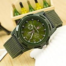 Estilo militar Tela banda de cuarzo reloj de pulsera de los hombres analógico (colores surtidos) ( Color : Verde , Talla : Una Talla )