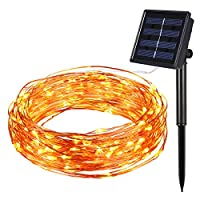 Amir Solar Fairy Lights, (100 LED 33 Feet) Starry String Lights, 7 Meters Waterproof 1.2 V Portable with Light Sensor for Easter, for Garden, Home, Dancing, Wedding, Party, Indoor (Warm Yellow)