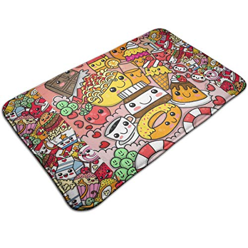 Dimension Art Doodle Fast Food Memory Foam Bath Mat Non Slip Absorbent Super Cozy Soft Velvet Bathroom Rug Carpet, 19.7