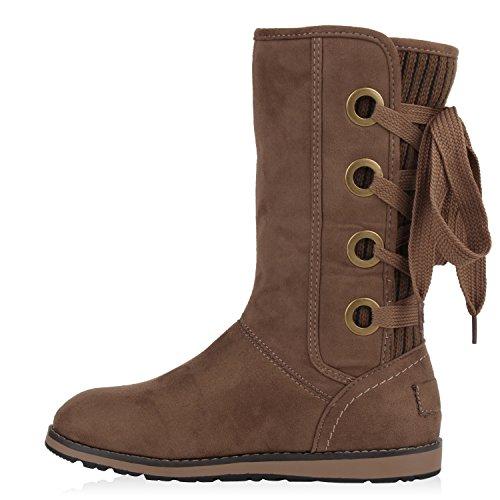 Warme Damen Schuhe Stiefel Stiefelette Boots Khaki