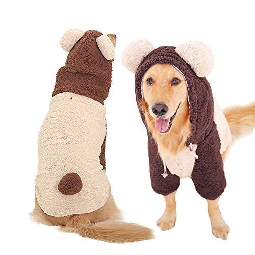 MUYAOPET Muyaotet Winterjacke für Hunde, groß, warm, bei kaltem Wetter, Weiches Fleece, für Labrador, Bulldogge, 6XL, Bear Brown (Bären Kostüm Für Große Hunde)