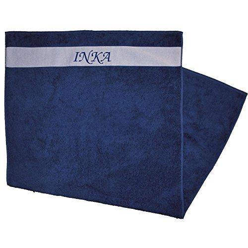 Duschtuch bedruckt mit Vornamen Inka blau (Jacken Inka Blau)