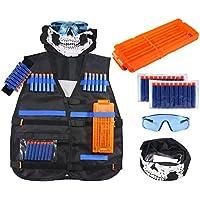 FOONEE Kit de Chaleco para niños Nerf Guns N-Strike Elite Series, con 20 Piezas de Recambio de Dardos Suaves, 1 Clip de Recarga, máscara de Tubo Facial, 1 Correa de muñeca de Mano y Gafas Protectoras