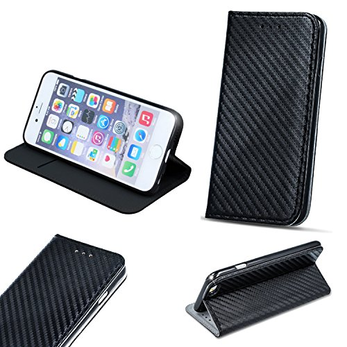 BOOK CASE SMART MAGNET CARBON für Samsung Galaxy S8 Plus SM-G955U S8 Edge G955U S8+ Cover Handy Tasche Flipcase Etui Buchform Kunststoff TPU Halterung für Kreditkarten (schwarz / black)