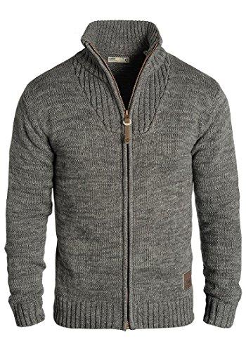 !Solid Pomeroy Herren Strickjacke Cardigan Grobstrick Winter Pullover mit Stehkragen, Größe:XXL, Farbe:Dark Grey (2890)