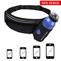 Running Belt with Water Bottle Holder HAISSKY Fitness Waterproof Bum Bag Cycling Water Bottle Waist Bag ,Fanny Pack ,Workout Pouch For Running, Cycling, Travelling - One Size Fits All (black)