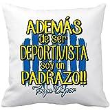 Cojín con relleno Deportivo de La Coruña además de ser deportivista soy un padrazo - Blanco, 35 x...
